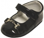 Girls Mocassin Leather w/ Chain-Black Pat